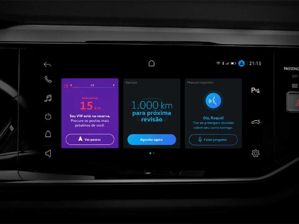 Detalhe revelando a central multimídia VW Play que estreia no Nivus