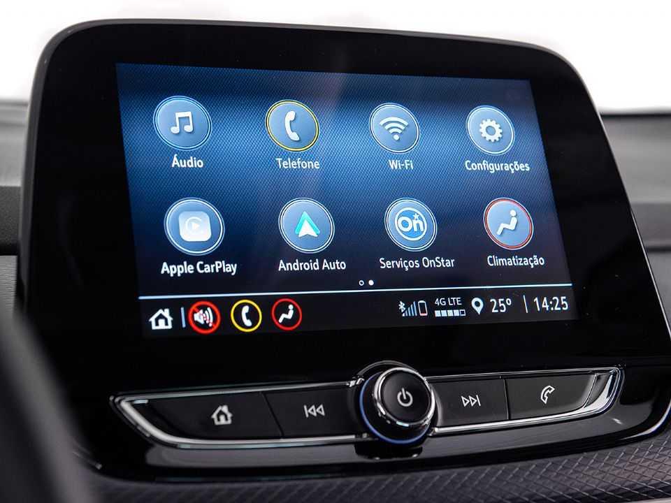 Acima a central multimídia MyLink aplicada no Chevrolet Tracker