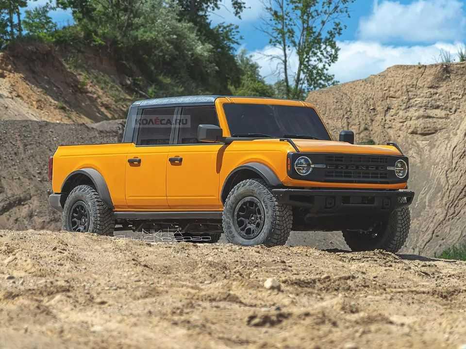 Projeção de uma eventual picape baseada na nova geração do Ford Bronco