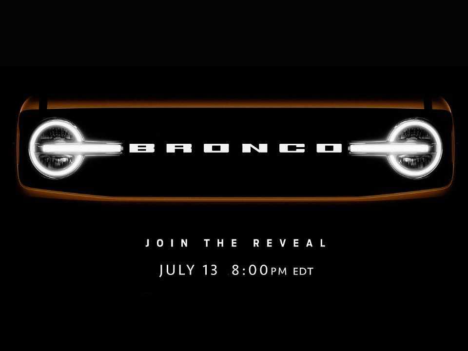 Teaser da Ford antecipando a dianteira do novo Bronco 2021