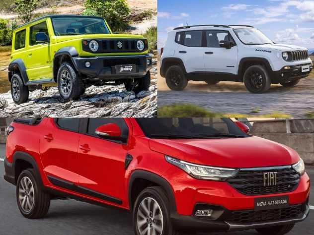 Para viagens e atividades de lazer: Suzuki Jimny Sierra, Fiat Strada ou Jeep Renegade?