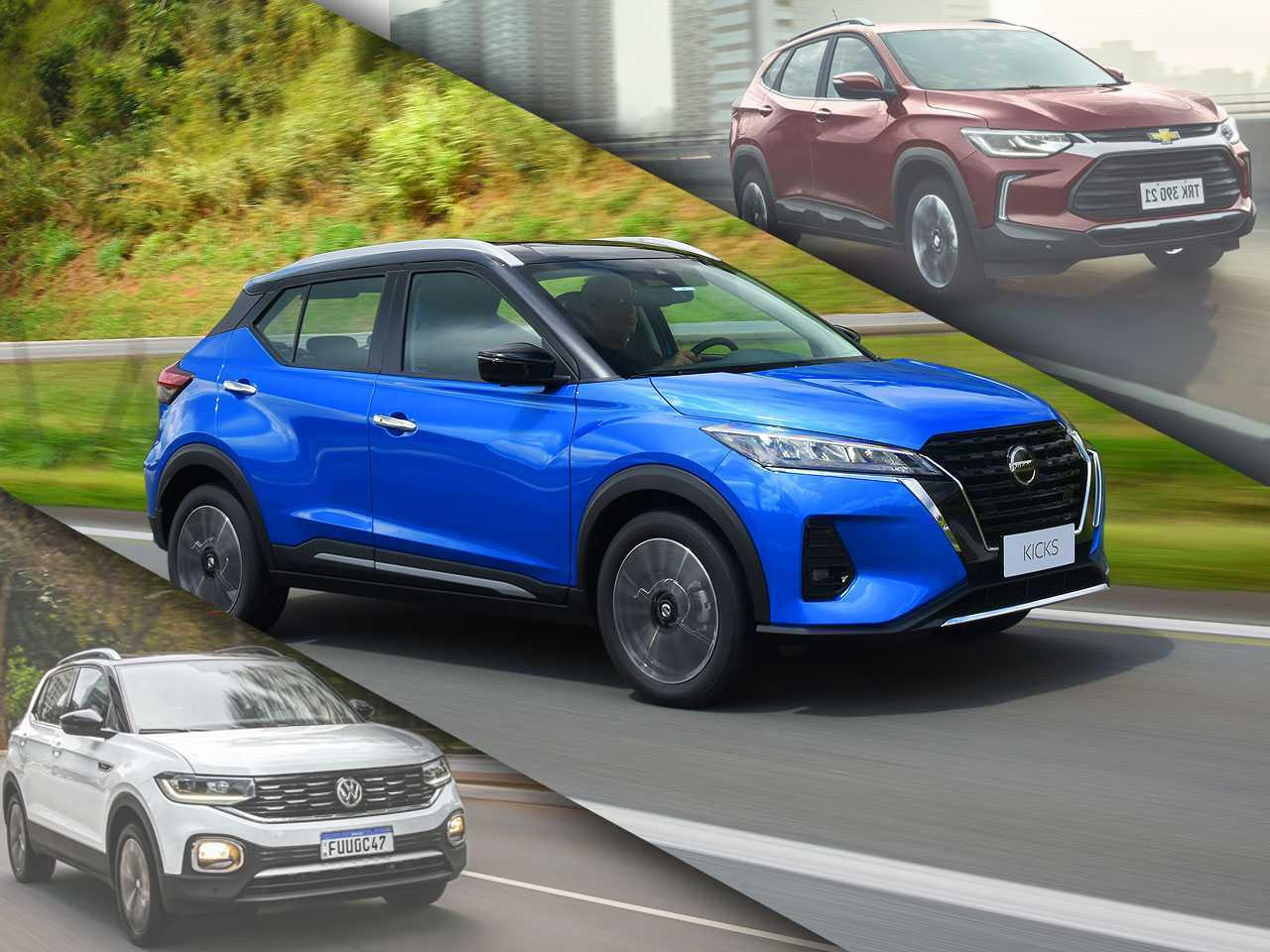 Nissan Kicks Exclusive entre T-Cross Highline e Tracker Premier: SUVs compactos em versões topo de linha