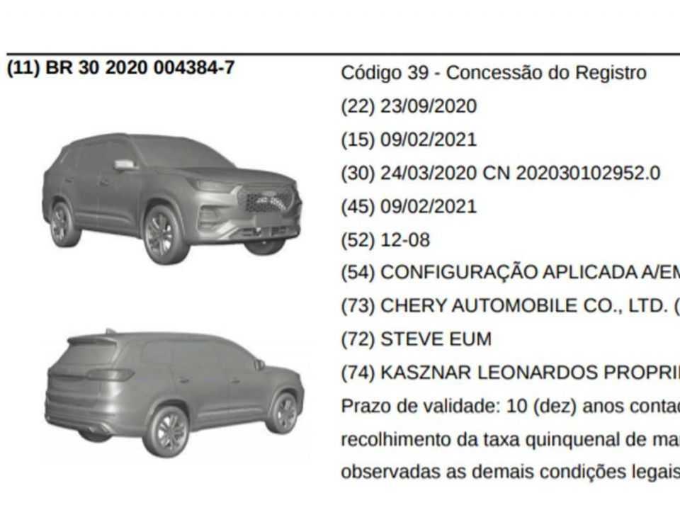 Patente mostra registro do Tiggo 8 Plus no Brasil