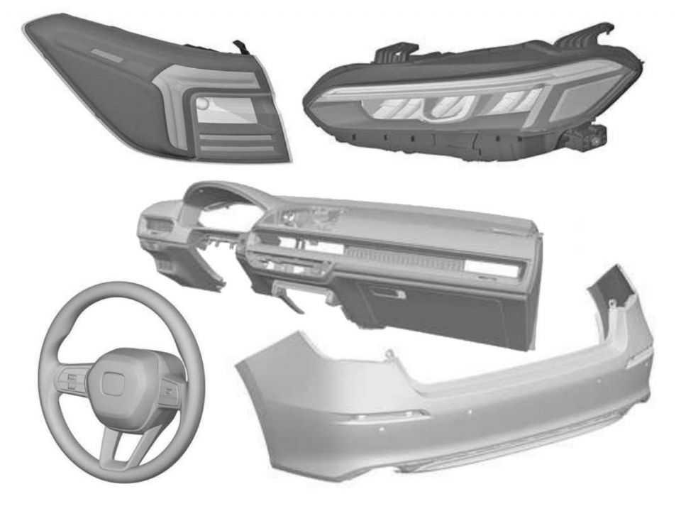 Patentes mostram registro de peças do novo Honda Civic 2022 no Brasil