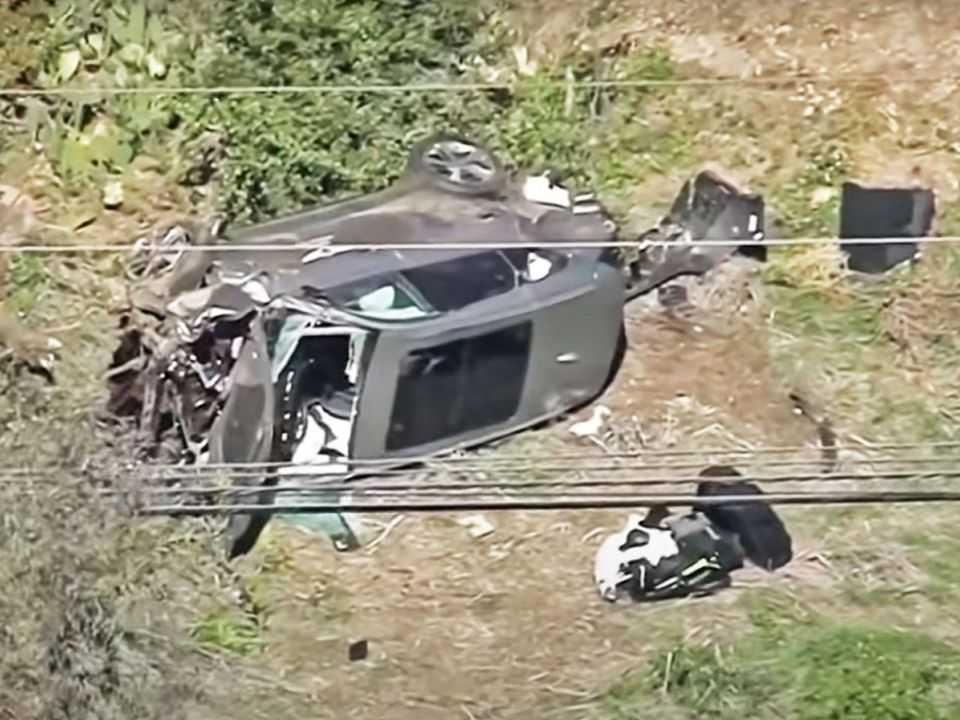 O GV80 que Tiger Woods dirigia após o acidente