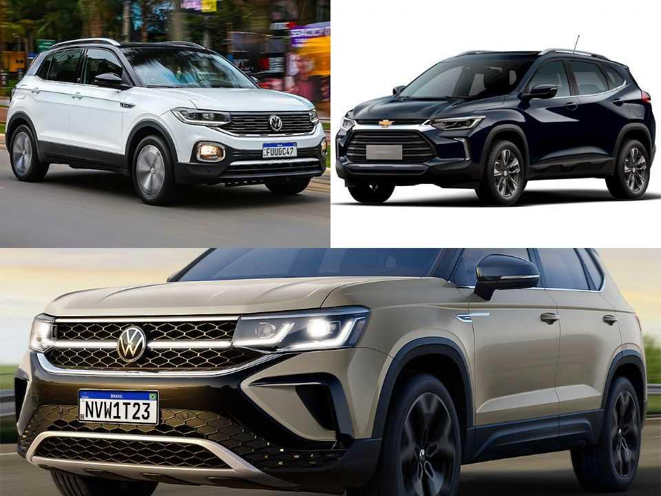 Volkswagen T-Cross, Chevrolet Tracker e Volkswagen Taos