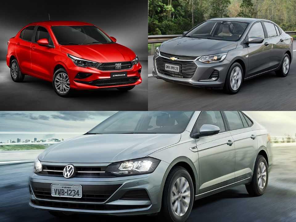 Fiat Cronos, Chevrolet Onix Plus e Volkswagen Virtus