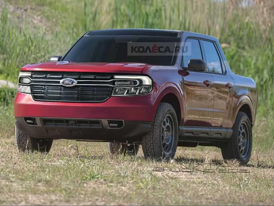 Projeção do site russo Kolesa antecipando a picape compacta-média Ford Maverick