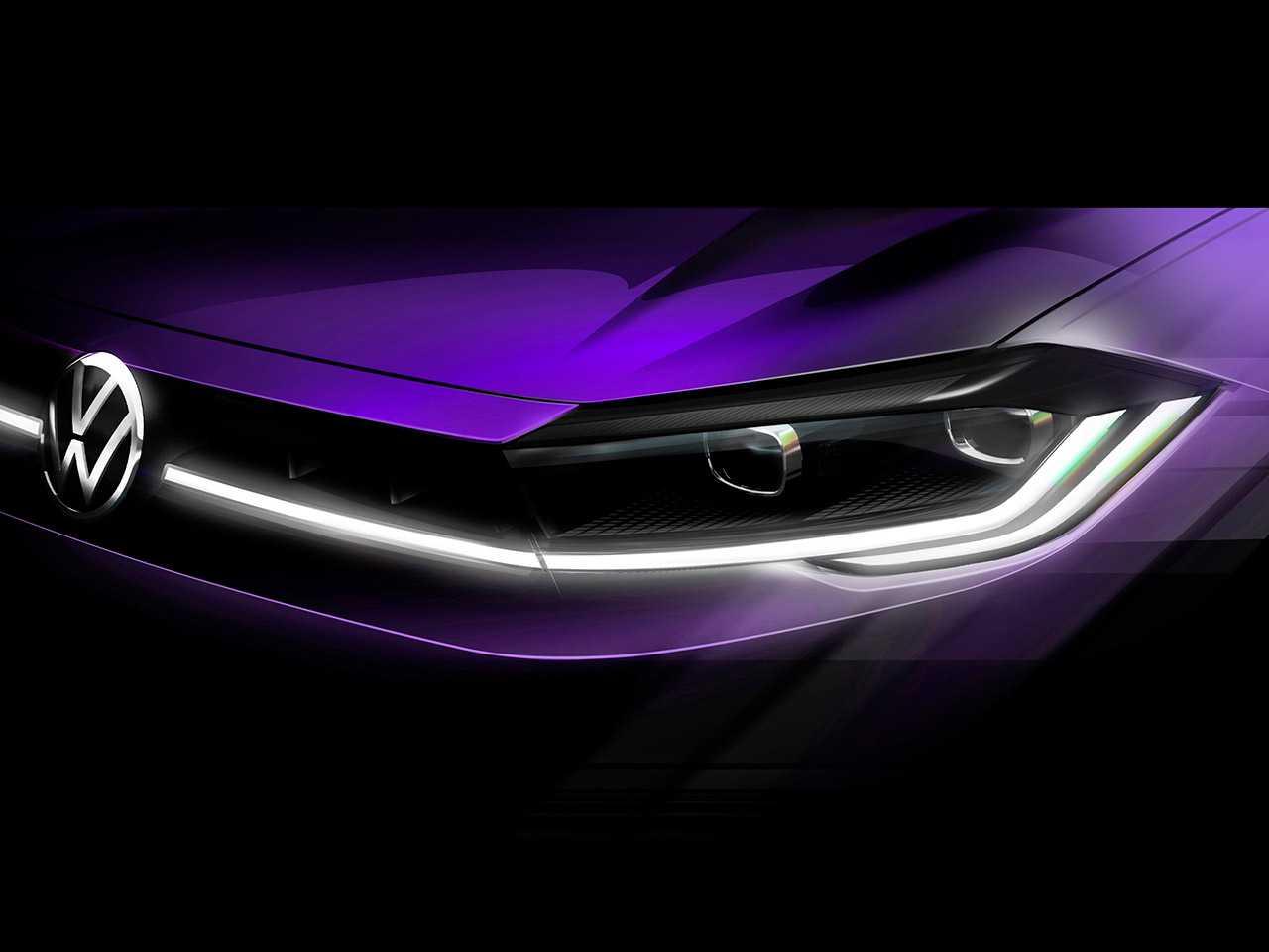 Teaser antecipando o facelift que a atual geração do Polo estreia neste mês