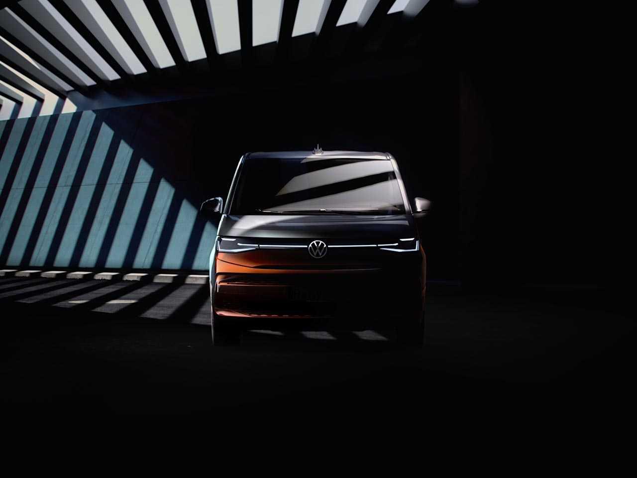Teaser antecipando a nova geração da Multivan, sucessora da Kombi na Europa