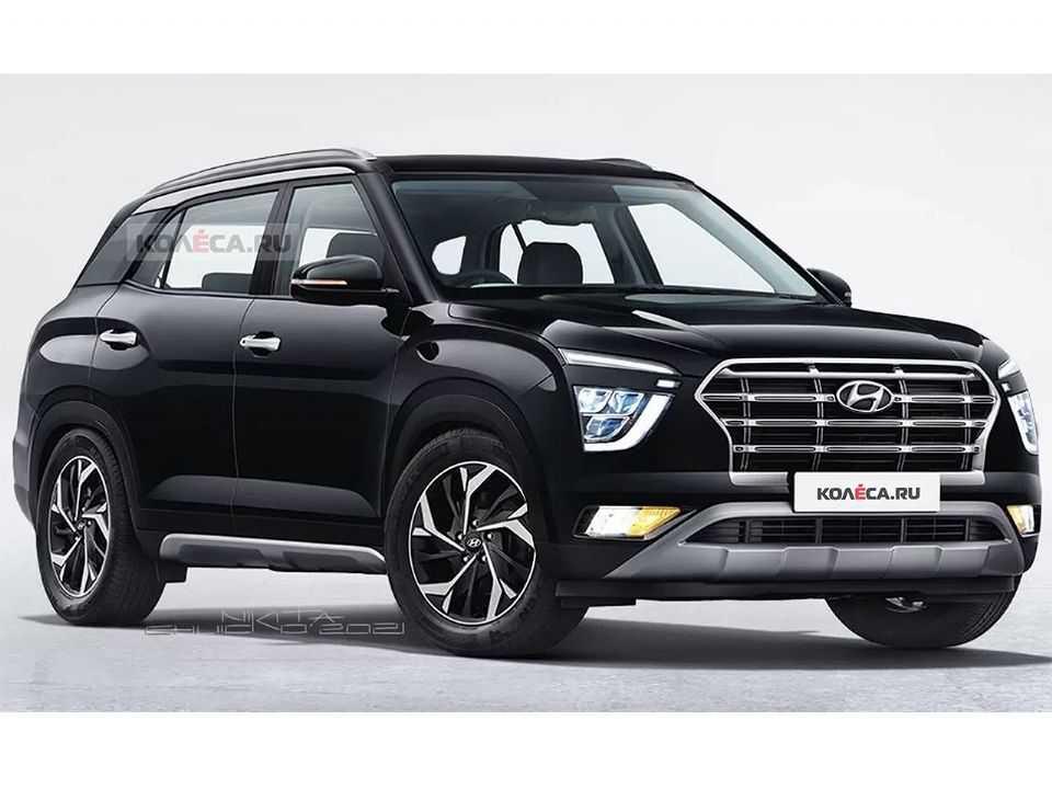 Projeção do site russo Kolesa antecipando o Hyundai Alcazar