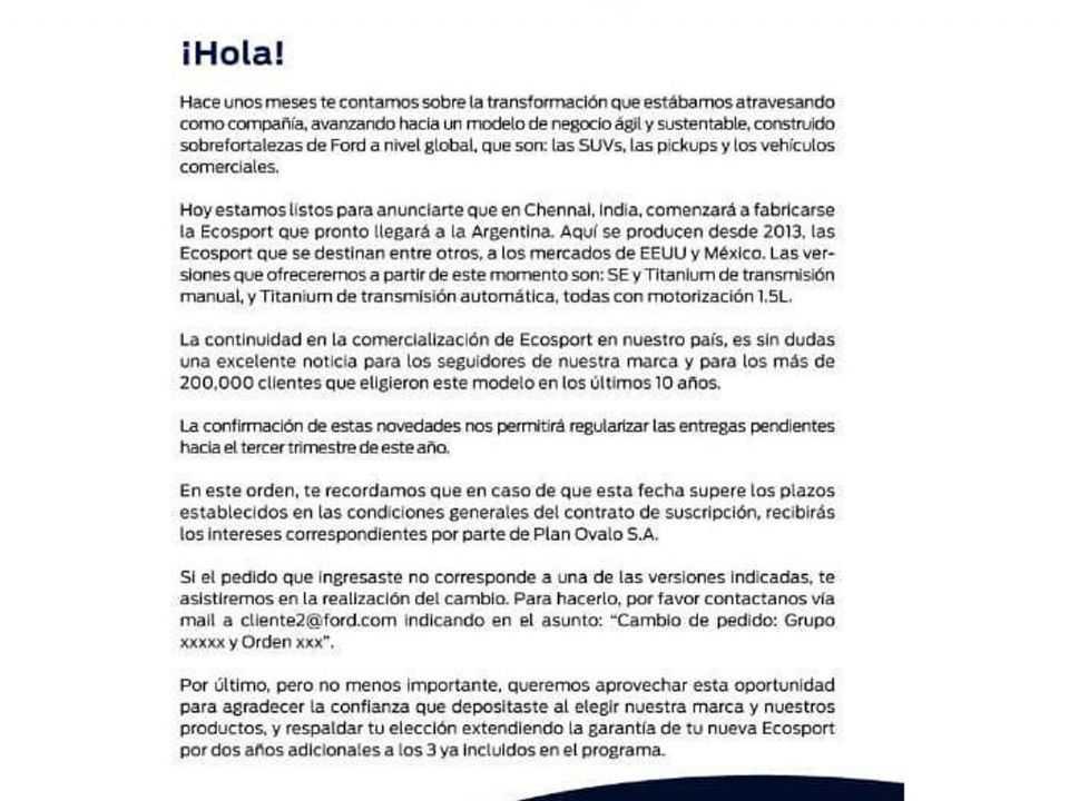 E-mail enviado pela Ford aos seus clientes na Argentina: EcoSport de volta, mas agora vindo da Índia