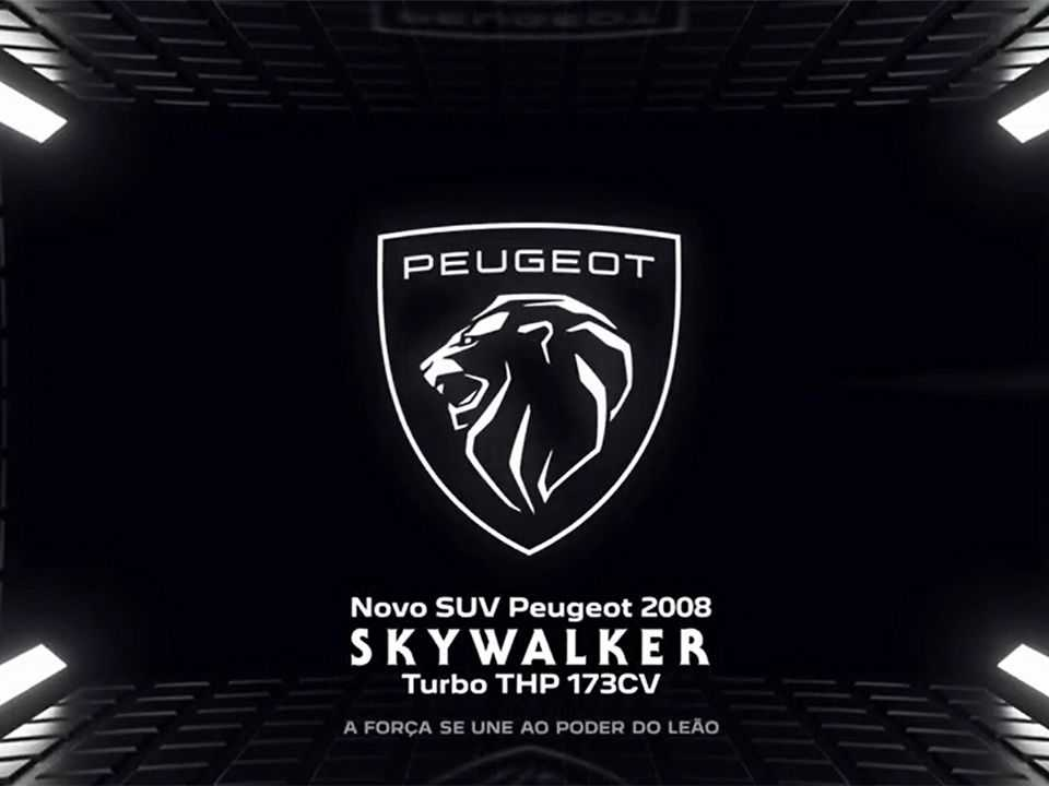 Teaser da Peugeot antecipando a presença do nome Skywalker na nova versão do 2008 nacional
