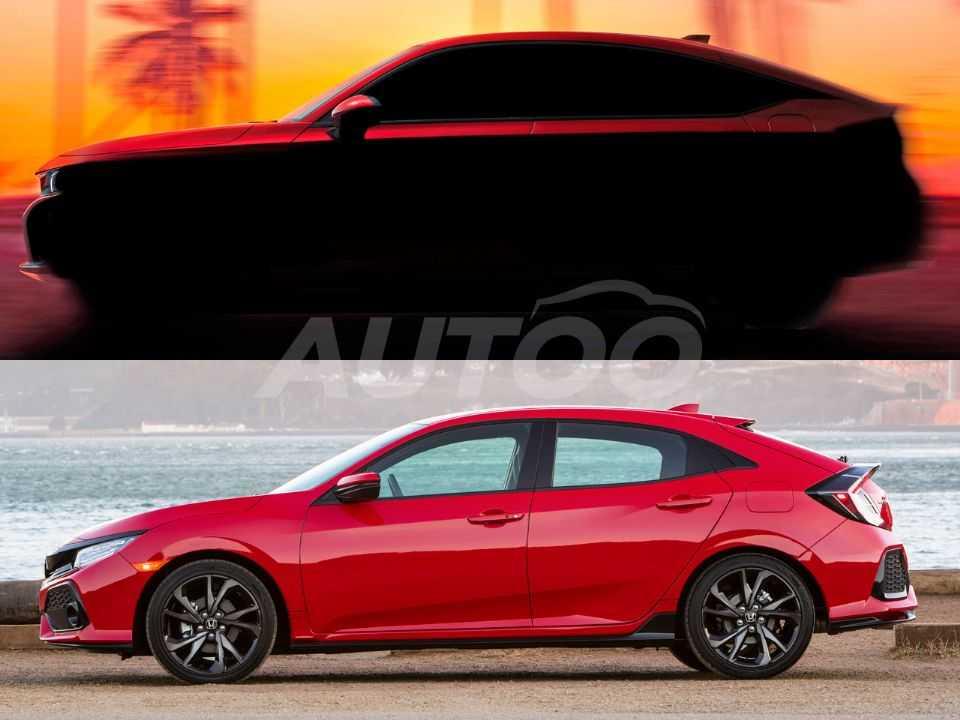 A 10ª geração do Civic hatchback (abaixo) comparada à sua sucessora