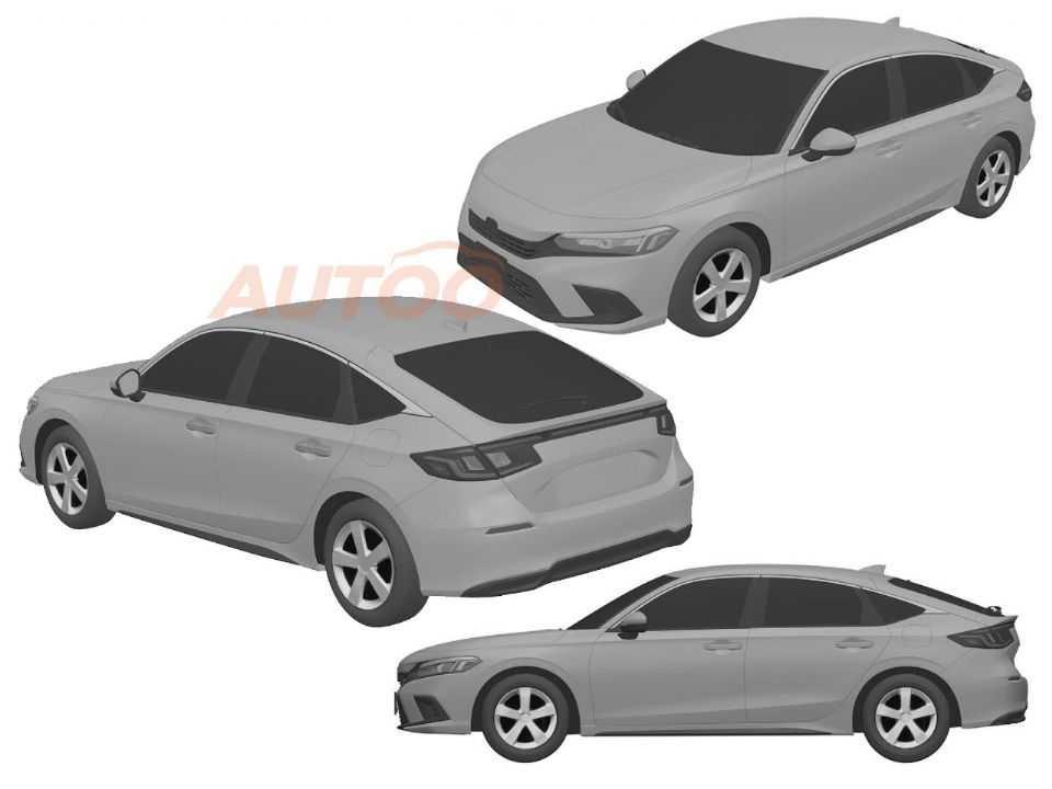 Imagens de patente do novo Honda Civic hatchback 2022