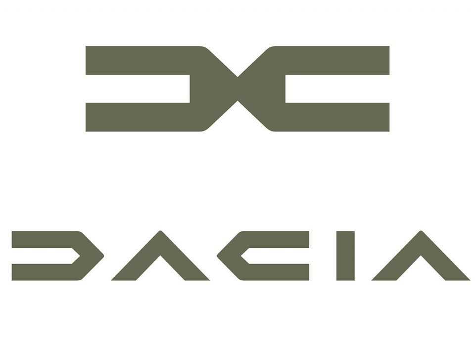 Detalhe dos novos emblema (superior) e logotipo (inferior) da Dacia