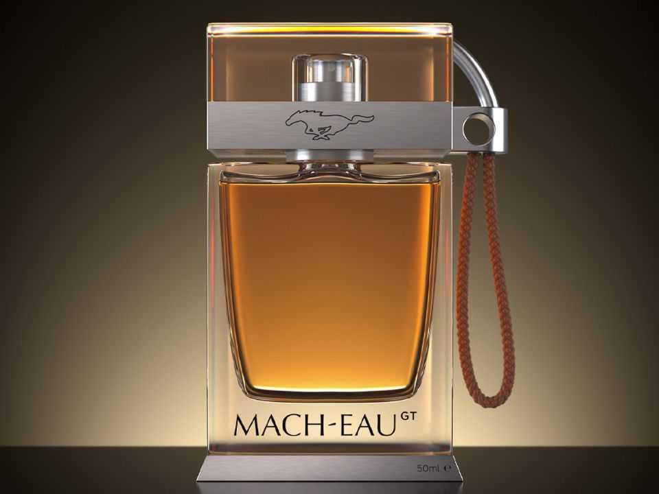 Acima o Mach-Eau, perfume que remete aos cheiros dos automóveis