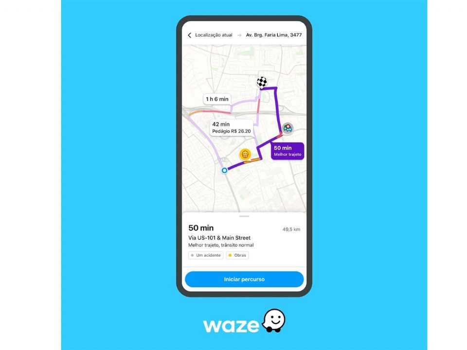 Tela divulgada pelo Waze com a atualização que chegará gradualmente aos usuários